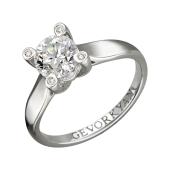 Кольцо с бриллиантами в четырех держателях, белое золото 750 пробы