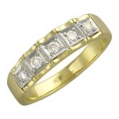 Кольцо с бриллиантами в квадратных ложах, желтое и белое золото 750 проба