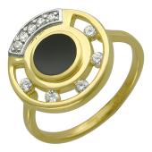 Кольцо окружность с бриллиантами и ониксом, комбинированное золото 750 проба