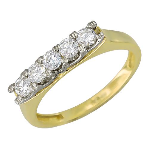 Кольцо Дорожка с бриллиантами, желтое и белое золото 750 проба