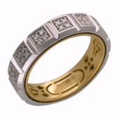 Кольцо с бриллиантами, 16 секторов по 4 бриллианта, комбинированное золото 750 проба