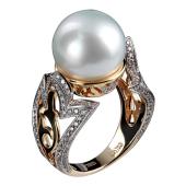 Кольцо с жемчугом и бриллиантами, комбинированное золото 750 проба