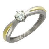 Кольцо с одним бриллиантом, комбинированное золото 750 проба