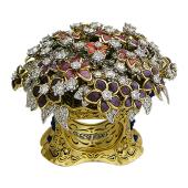Кольцо Букет с бриллиантами и цветной эмалью, желтое и белое золото 750 проба