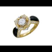 Кольцо Лилия с бриллиантами и черной эмалью, желтое и белое золото 750 проба