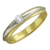 Кольцо с бриллиантом, желтое и белое золото 750 проба