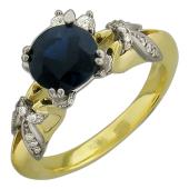 Кольцо Цветочное с бриллиантами и сапфиром, желтое и белое золото 750 проба