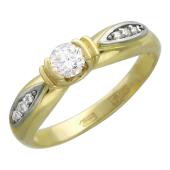 Кольцо с одним бриллиантом в центре, бриллианты по бокам, комбинированное золото 750 проба