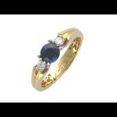 Кольцо с круглым изумрудом и двумя бриллиантами, комбинированное золото 750 пробы