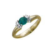 Кольцо с круглым изумрудом и бриллиантами, комбинированное золото
