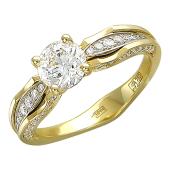 Кольцо Shine с бриллиантами, желтое и белое золото 750 пробы