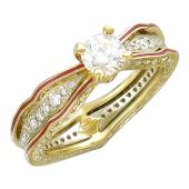 Кольцо Shine с бриллиантами и красной эмалью, желтое и белое золото 750 пробы