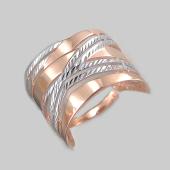 Кольцо с алмазными гранями, красное золото