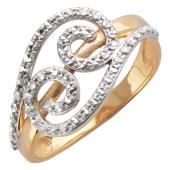 Кольцо с алмазной гранью, красное золото 585 пробы