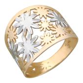 Кольцо широкая шинка, Цветы и Звезды, красное золото, с алмазной гранью