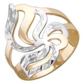 Кольцо Цветок с алмазной огранкой, красное золото