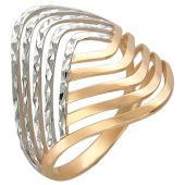 Кольцо Лагуна с алмазными гранями, красное золото