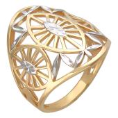 Кольцо широкое с алмазными гранями, красное золото