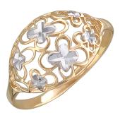 Кольцо широкое Цветочки с алмазной огранкой, красное золото