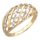 Кольцо Плетенка с алмазными гранями, желтое золото
