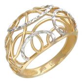 Кольцо с алмазными гранями, желтое золото