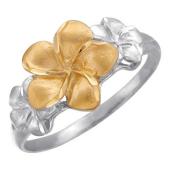 Кольцо Цветок из серебра 925 пробы с позолотой и родированием