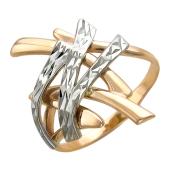 Кольцо Иероглиф с алмазной гранью, красное золото 585 проба