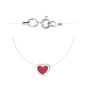 Колье-леска Сердце с эмалью из серебра 925 пробы