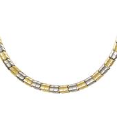 Колье Панцирное, желтое и белое золото 9мм