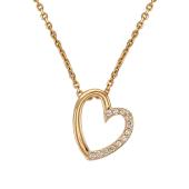 Колье декоративное Сердце с фианитами, якорная цепь, красное золото
