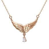 Колье Крылья Ангела с фианитом, красное золото