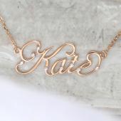 Колье именное Катя Kate из красного золота с фианитами