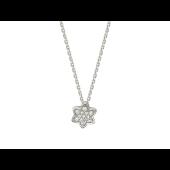 Колье Звезда Давида с фианитами, белое золото