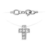 Колье-леска Крест с фианитом из белого золота 585 пробы