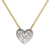 Колье Сердце с фианитами на якорной цепи из желтого золота