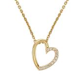 Колье Сердце с фианитами на якорной цепи из желтого золота 585 пробы