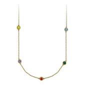 Колье Fashion Story с цветными фианитами (желтый, сиреневый, красный, зеленый, голубой), желтое золото