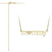 Колье Mommy для мамы с сердцем и фианитами, желтое золото