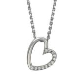 Колье Сердце с фианитами на якорной цепи, серебро