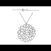 Колье на якорной цепи с ажурной круглой подвеской и фианитами, серебро