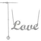 Колье Love с фианитами и удлинителем и сердечком, серебро