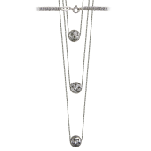 Колье тройное с шариками с узорами и фианитами, серебро