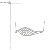 Колье Крыло Ангела с фианитом на якорной цепи, серебро
