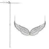 Колье Крылья Ангела ажурные с фианитами на якорной цепи, серебро