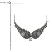 Колье Крылья Ангела с фианитом на якорной цепи, серебро с чернением