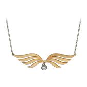 Колье Крылья Ангела с фианитом на якорной цепи, серебро с золотым покрытием
