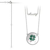 Колье Vivid Lucky с четырехлистником, зеленой эмалью и фианитами, серебро