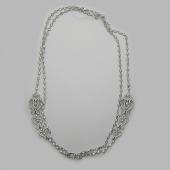 Колье двойное с ажурными элементами, серебро