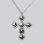 Колье с крестом, серебро с черным покрытием