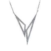 Колье Треугольники с фианитами, серебро